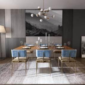 现代餐厅餐桌餐椅组合3D模型【ID:530432106】