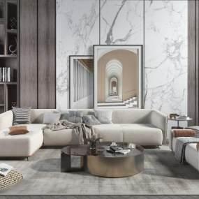 現代輕奢沙發茶幾組合客廳3D模型【ID:643787702】