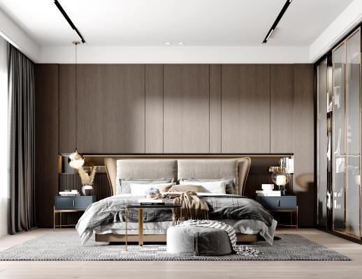 现代卧室 双人床 床品组合 床头柜 台灯 床尾凳 衣柜