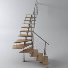 现代楼梯栏杆扶手3D模型【ID:335487529】