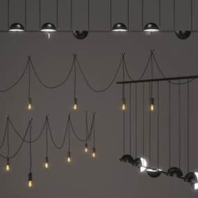 现代金属吊灯3D模型【ID:732149870】