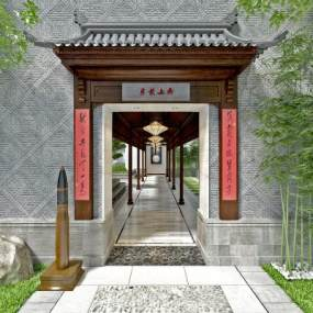 中式庭院大門門頭3D模型【ID:546582636】