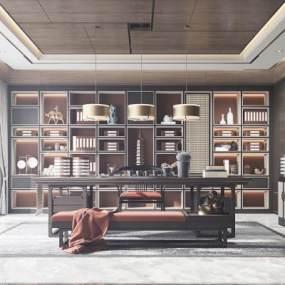 新中式書房3D模型【ID:646662167】