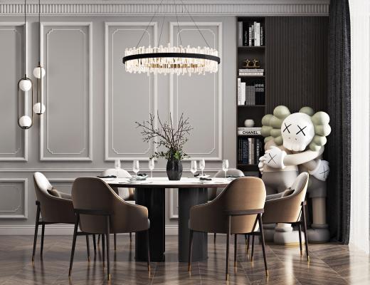现代餐桌椅组合3D模型【ID:749448184】