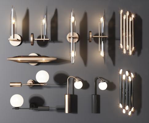现代轻奢壁灯组合 金属壁灯