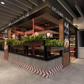 工業風韓國炸雞主題餐廳3D模型【ID:546938141】
