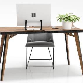 工业风书桌电脑桌椅子摆件组合3D模型【ID:932555146】
