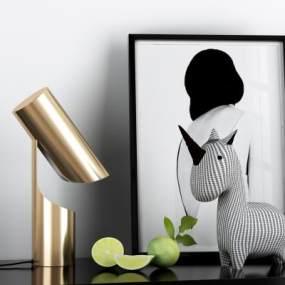 現代質感獨角獸臺燈組合3D模型【ID:846717160】