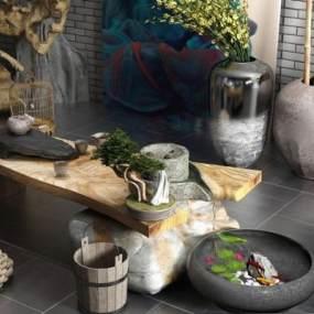 新中式茶桌3D模型【ID:631303151】