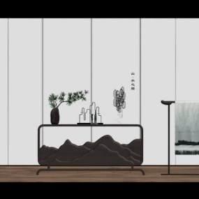 新中式玄關柜植物擺件3D模型【ID:248179594】
