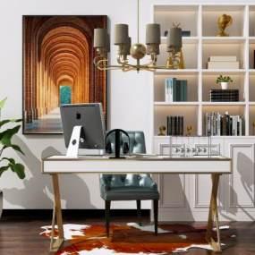 現代簡約書桌椅組合3D模型【ID:949430001】