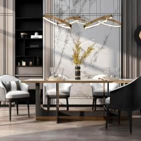現代輕奢餐桌椅組合3D模型【ID:846686860】