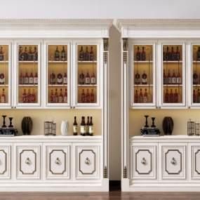 欧式酒柜装饰柜3D模型【ID:643190285】