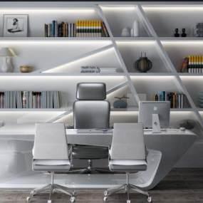 现代办公桌办公柜3D模型【ID:933495017】