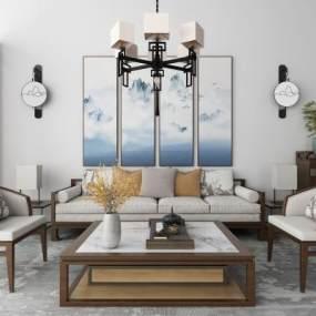 新中式沙发茶几吊灯地毯组合 3D模型【ID:641324768】