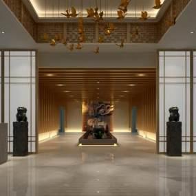 新中式办公大厅3D模型【ID:943405224】