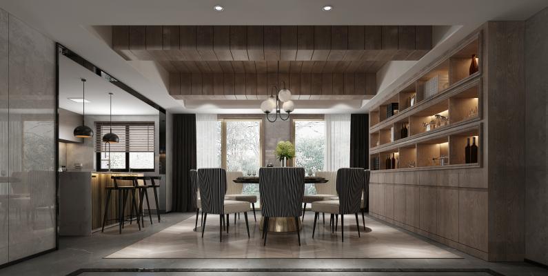 后现代开放式厨房餐厅3D模型【ID:540601100】
