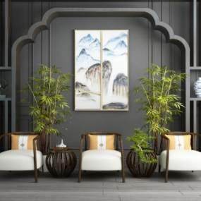 新中式实木休闲桌椅屏风隔断竹子盆栽组合 365彩票【ID:741427012】