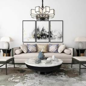 新中式沙发茶几吊灯地毯装饰画组合3D模型【ID:635763716】
