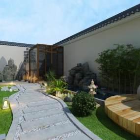 现代庭院花园3D模型【ID:535340603】