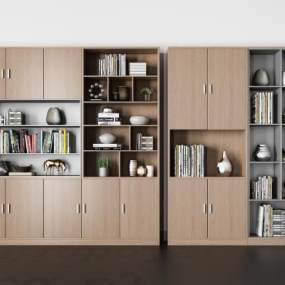 现代书柜组合3D模型【ID:148343542】