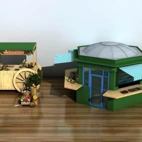 现代小吃快餐车售货摊位组合3D模型【ID:135739944】