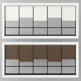 现代落地窗窗帘组合3D模型【ID:332893227】