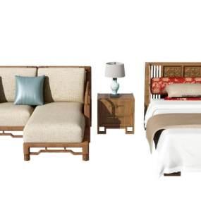 新中式沙发床组合3D模型【ID:630947713】