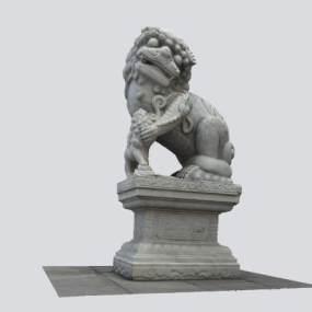 中式石頭獅子3D模型【ID:353024146】