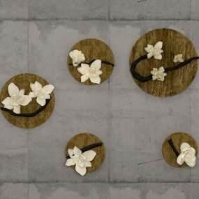 新中式花朵墻飾3D模型【ID:247216742】