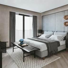 新中式卧室3D模型【ID:542711299】