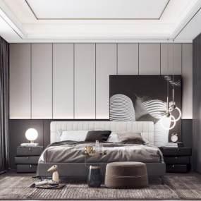 现代卧室3D模型【ID:543466239】