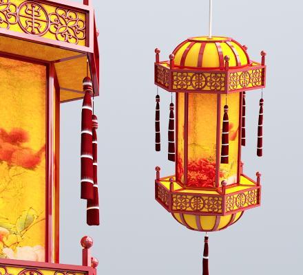 中式灯笼吊灯3D模型【ID:734855859】