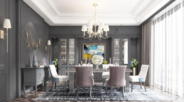 美式餐厅 餐桌 餐椅