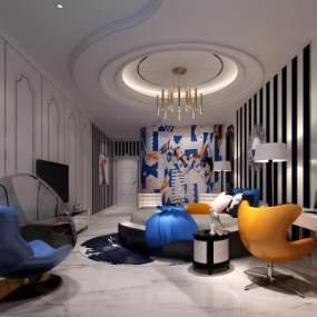现代酒店客房3D模型【ID:753373331】