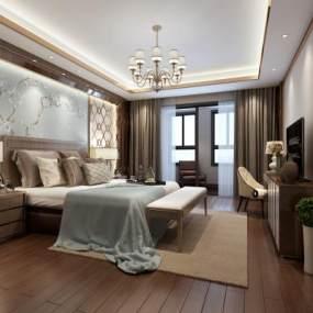 欧式简约卧室3D模型【ID:531998205】