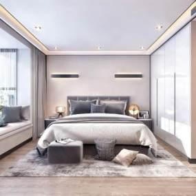 现代卧室 3D模型【ID:542373207】