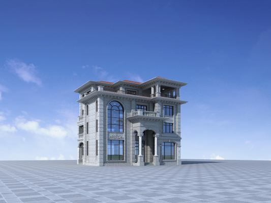 歐式別墅3D模型【ID:141753379】