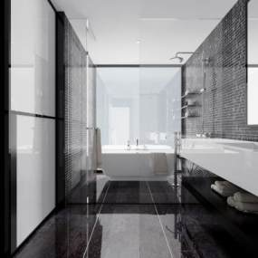 现代黑白灰卫生间3D模型【ID:531969539】