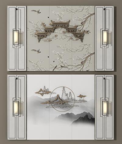 新中式背景墙墙饰组合3D模型【ID:250195730】