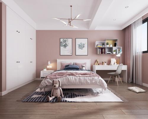 北欧女孩房卧室 吊灯 地毯 装饰画