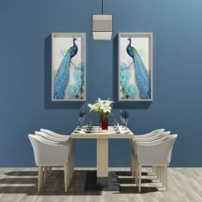 现代餐桌椅3D模型【ID:831802854】