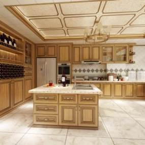 新古典厨房3D模型【ID:544525316】