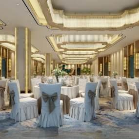 新中式酒店宴会厅3D模型【ID:734472292】
