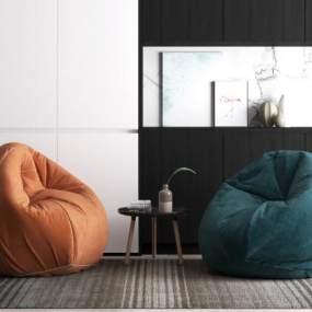 现代懒人沙发椅 3D模型【ID:642399498】