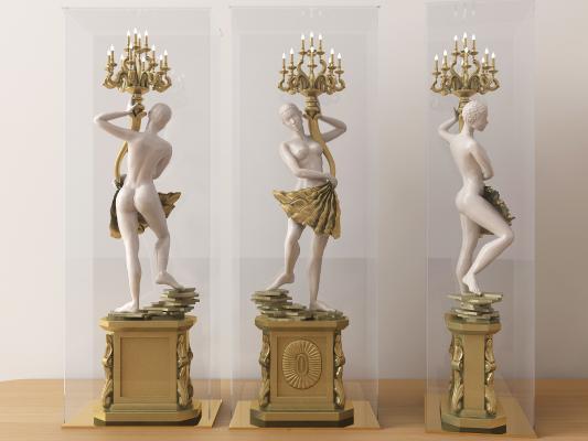 欧式烛台人物雕塑3D模型【ID:343205179】