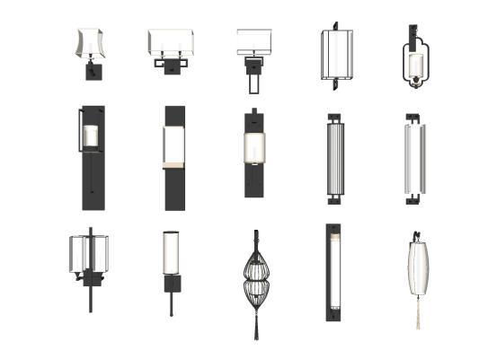 新中式壁燈SU模型【ID:345024951】