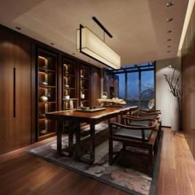 新中式茶室3D模型【ID:653706178】