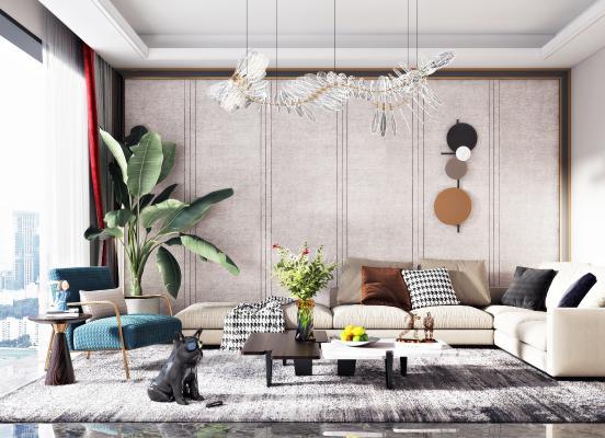 现代轻奢沙发组合3D模型【ID:644414728】