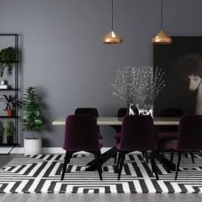 现代餐桌椅3D模型【ID:851042860】